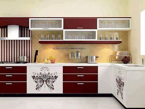 L Shaped Kitchen With Red And White Cabinets by Kundan Sharma Modular-kitchen Contemporary | Interior Design Photos & Ideas