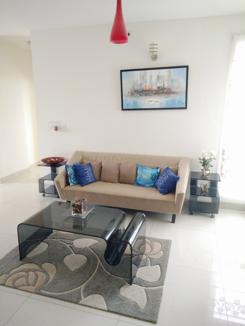 Living Area With Brown Tuxedo Sofa And Grey Floral Carpet by Dilip Kumar GM Living-room Contemporary   Interior Design Photos & Ideas