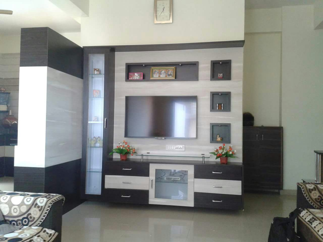 Wood Theme Living Room With Light Brown Shaded Wooden TV Cabinet by Tejesh Suthar Living-room Modern | Interior Design Photos & Ideas