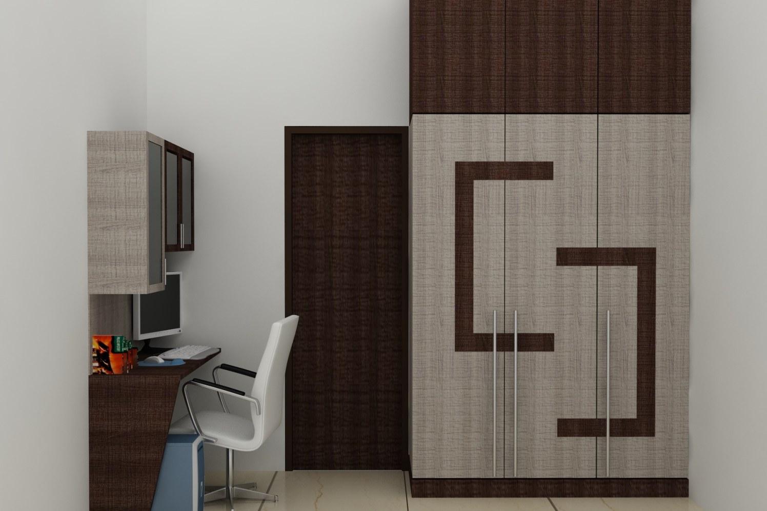 Wooden Study Table And Wardrobe In Bedroom by Vinod Sharma S Bedroom Contemporary | Interior Design Photos & Ideas