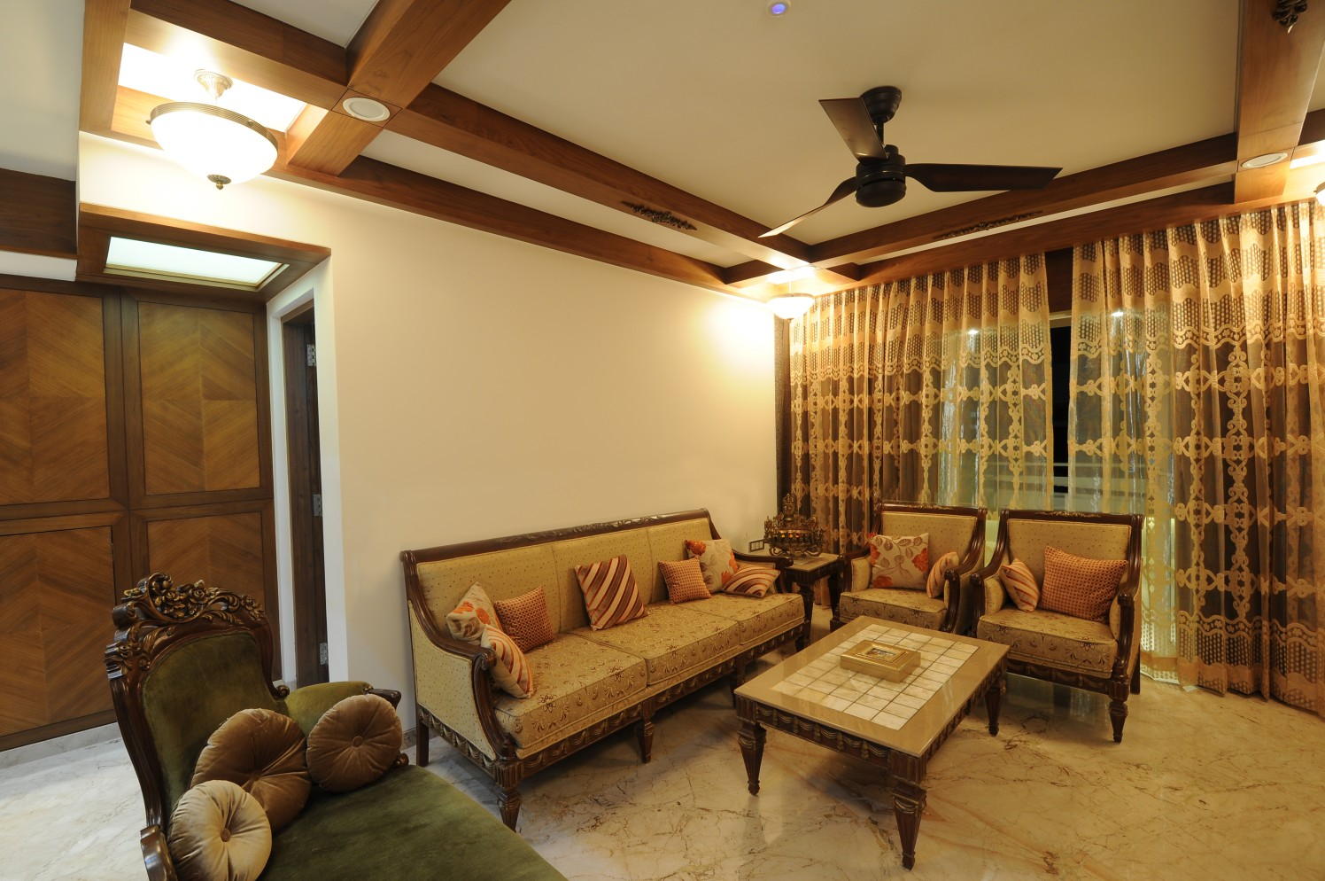 Living Room With Traditional Furniture And Woodwork On False Ceiling by Dhananjay Ramdas Living-room Traditional | Interior Design Photos & Ideas