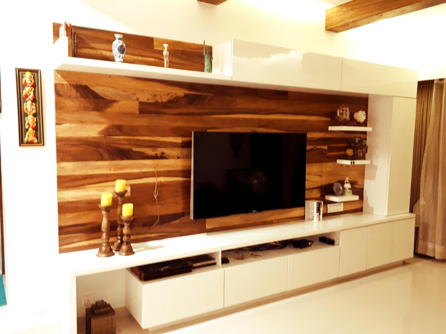 Living Room With Wooden Interiors by Gunjan Mehrotra Living-room Modern | Interior Design Photos & Ideas