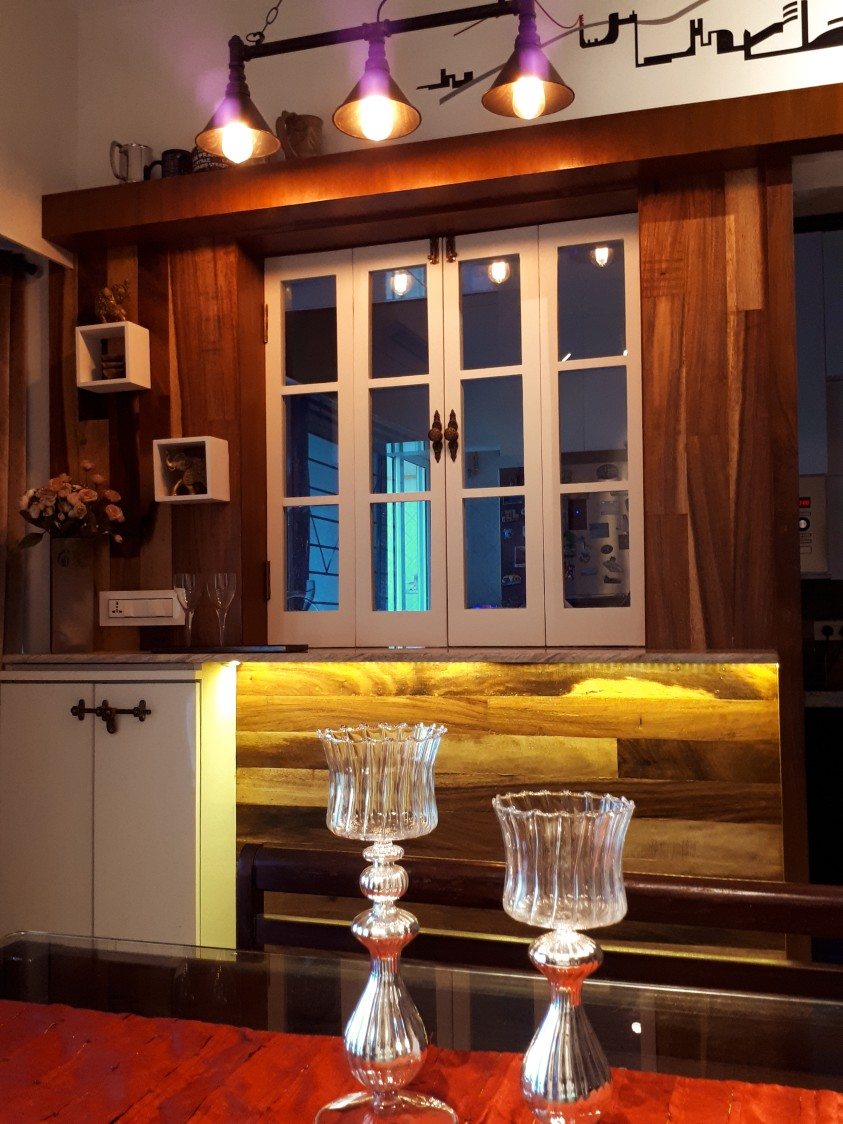 Eclectic Dining Area With Wood Window Frame by Gunjan Mehrotra Dining-room Eclectic   Interior Design Photos & Ideas