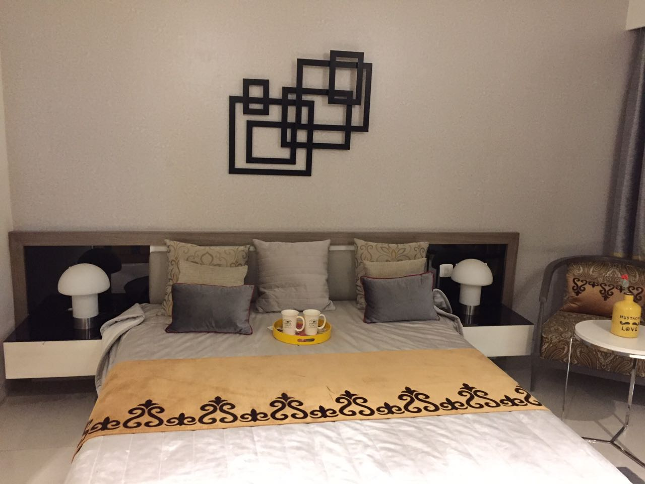 Abstract Squares by Preethi Hendricks Bedroom Contemporary | Interior Design Photos & Ideas