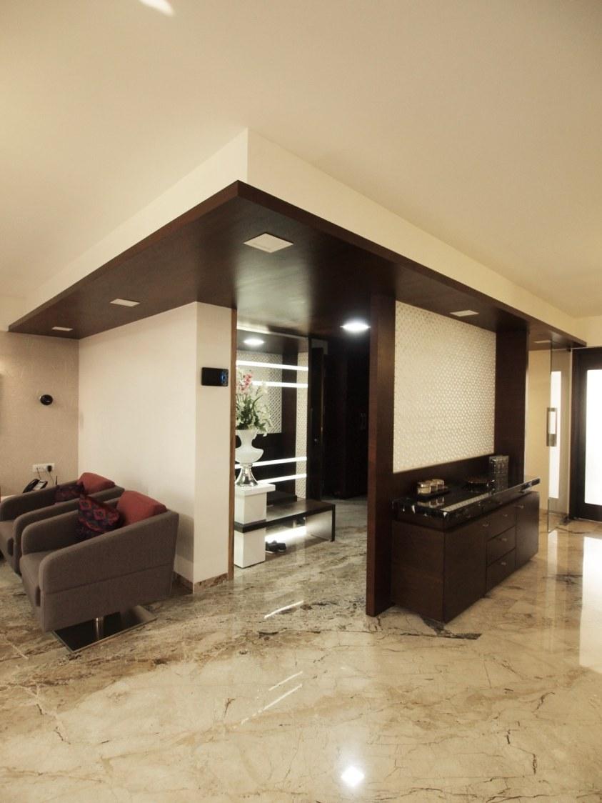 Hallway With Grey Tub Sofas by Janaki Kumar Raut Indoor-spaces Contemporary | Interior Design Photos & Ideas