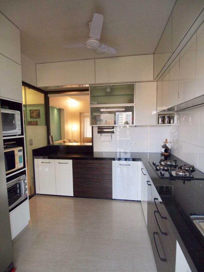 Black And White Themed Modular Kitchen by Janaki Kumar Raut