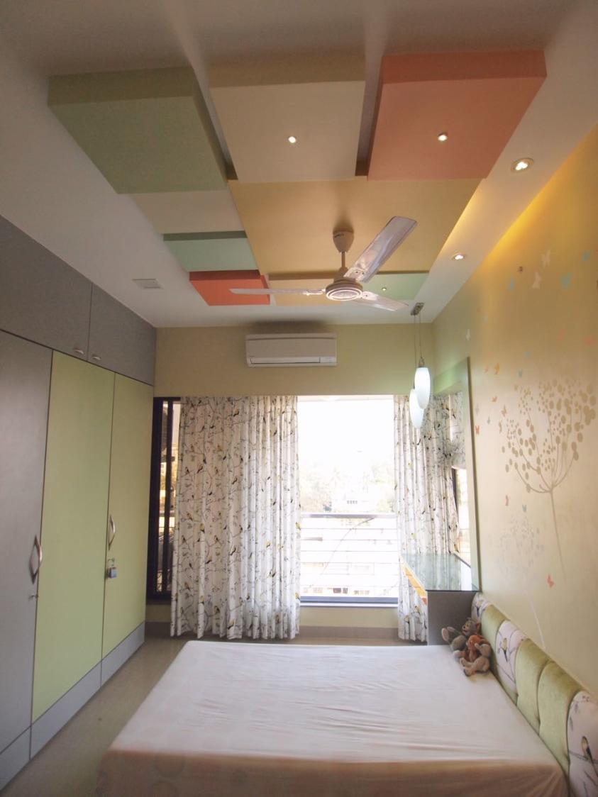 Bedroom With Lemon Green Wardrobe by Janaki Kumar Raut Bedroom Contemporary | Interior Design Photos & Ideas