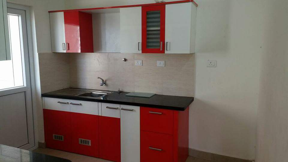 Red And White Modular Kitchen Cabinets by Pravin Kumar J Modular-kitchen Contemporary | Interior Design Photos & Ideas