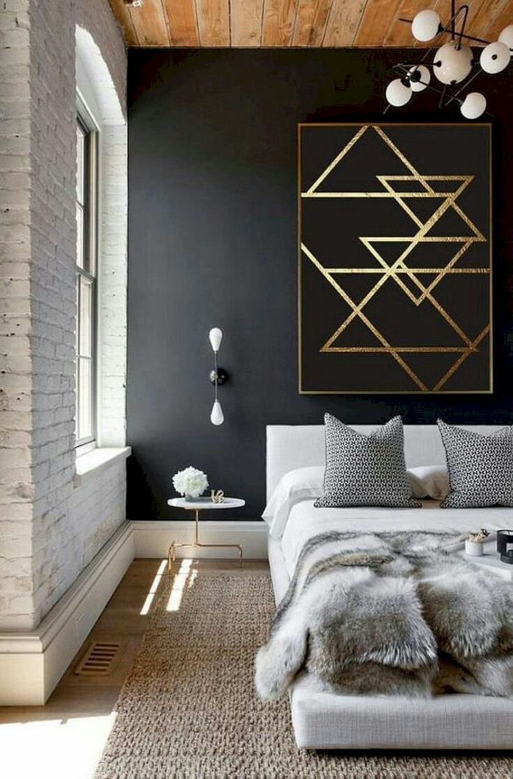 Bedroom With Black Multi Patterned Wall by Nainita Bedroom Modern | Interior Design Photos & Ideas