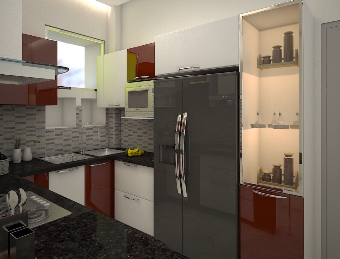 Small U Shaped Kitchen With Cabinets by nakul baghel Modular-kitchen Modern   Interior Design Photos & Ideas