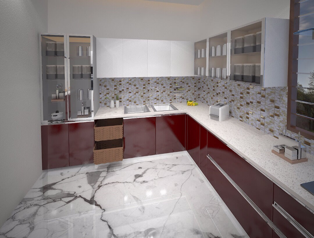 L Shaped Kitchen With Marble Flooring by nakul baghel Modular-kitchen Modern | Interior Design Photos & Ideas