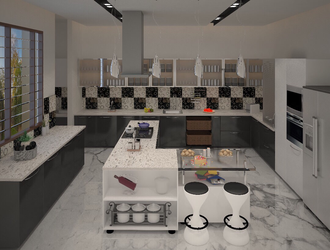 L Shaped Open Island Kitchen by nakul baghel Modular-kitchen Modern | Interior Design Photos & Ideas