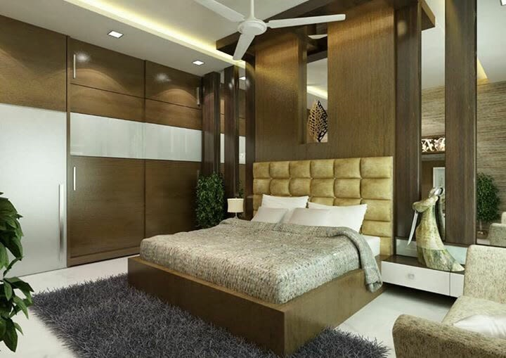 Bedroom With Full Wall Wardrobe And Vintage Decor by nakul baghel Bedroom Modern | Interior Design Photos & Ideas
