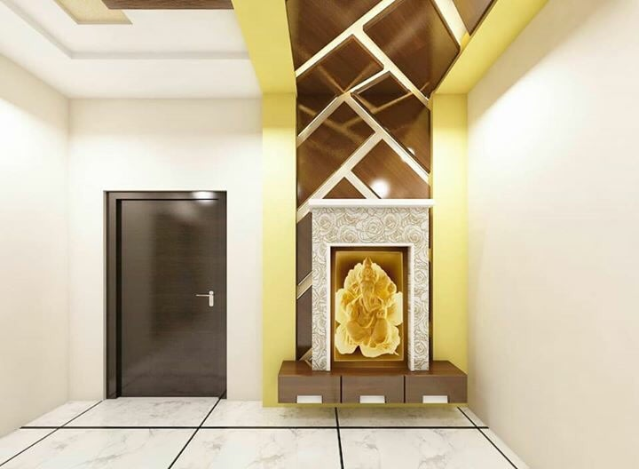 Prayer Room With Tile Flooring And Woodwork by nakul baghel Modern | Interior Design Photos & Ideas
