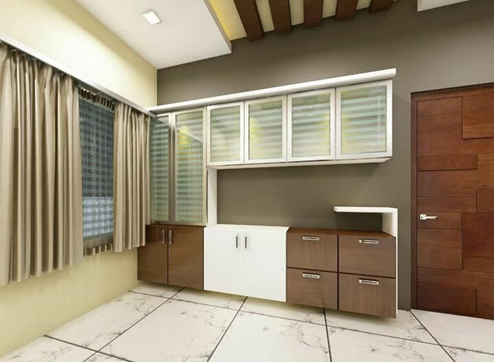 Parallel Kitchen With Wooden Cabinets And Tile Flooring by nakul baghel Modular-kitchen Modern   Interior Design Photos & Ideas