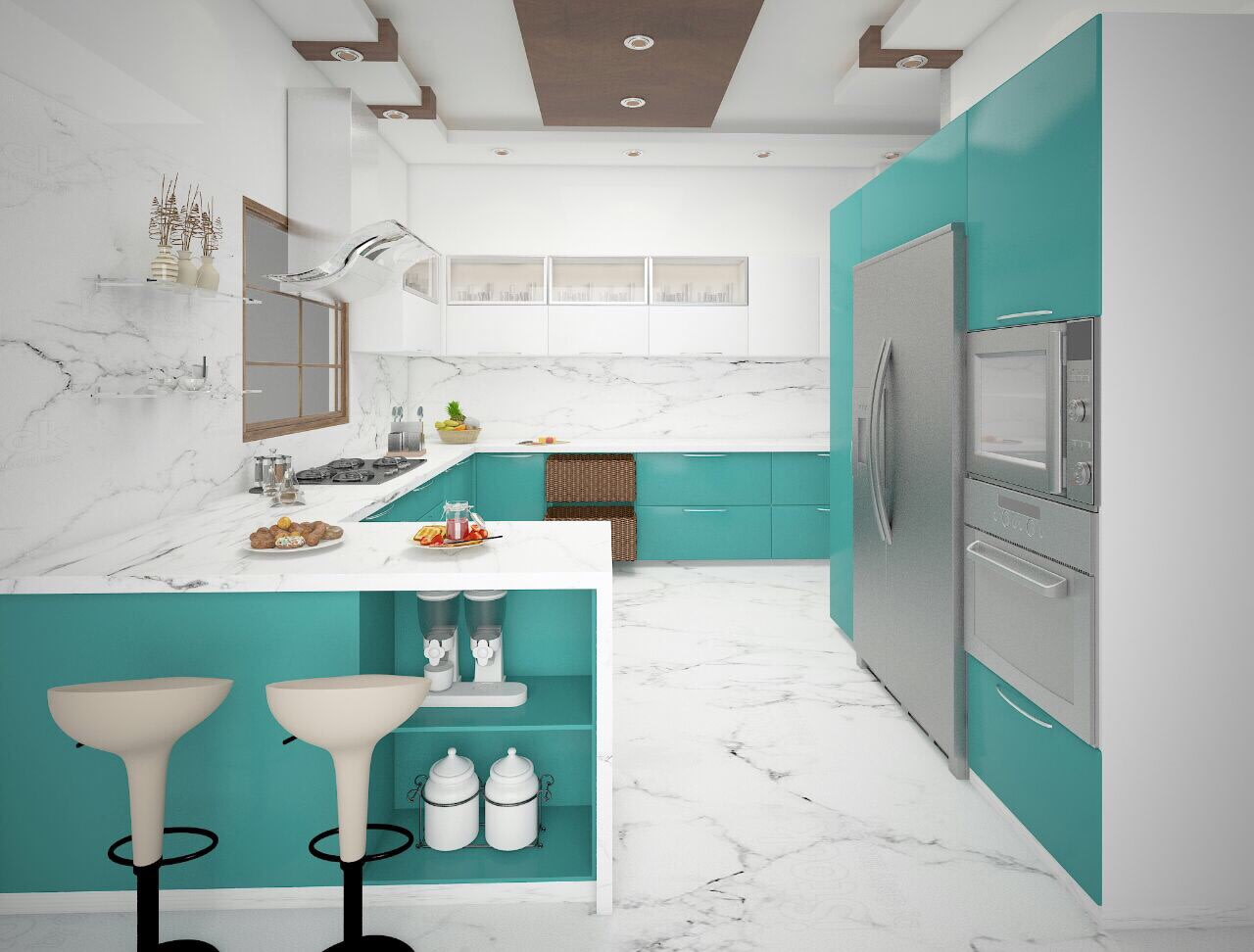 U Shaped Kitchen With Marble Flooring by nakul baghel Modular-kitchen Modern | Interior Design Photos & Ideas