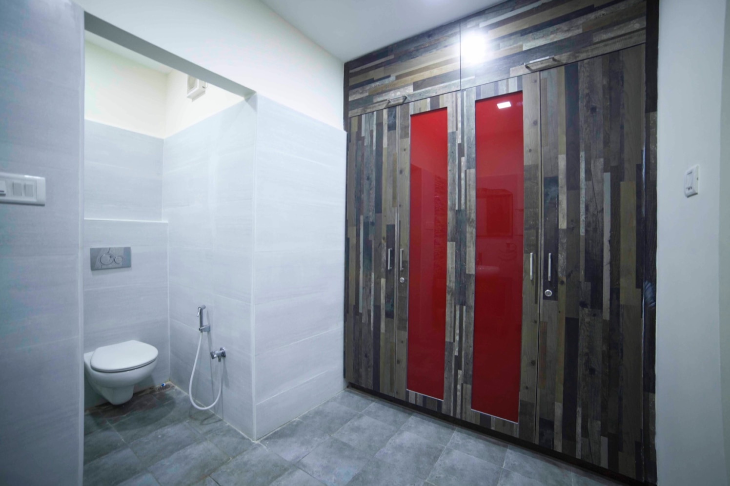 Grey Marble Flooring And White Walls In Bathroom by Sarath Sasi P Bathroom Modern | Interior Design Photos & Ideas