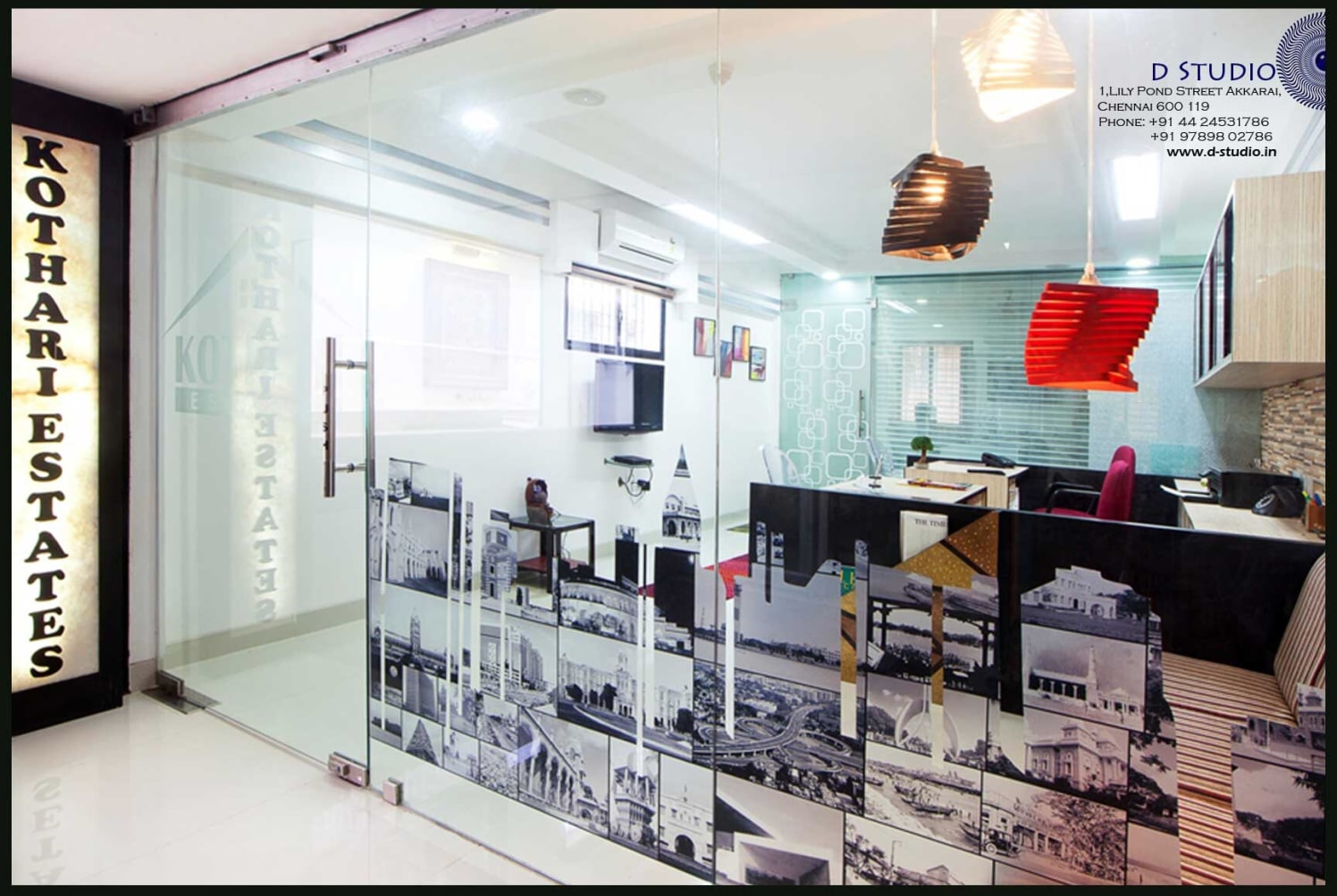Eclectic Office Cabin with monochrome collage by Sarath Sasi P Modern | Interior Design Photos & Ideas