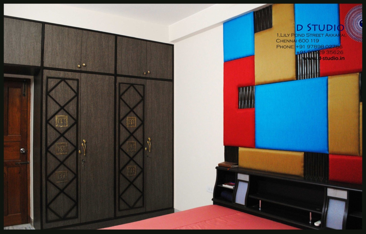 A riot of colors in an upholstered bedroom headboard with Dark wooden wardrobe by Sarath Sasi P Bedroom Eclectic | Interior Design Photos & Ideas