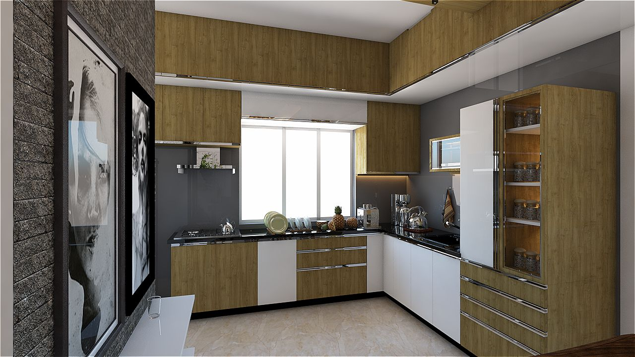 Woody Touch by Sarath Sasi P Modular-kitchen Modern | Interior Design Photos & Ideas