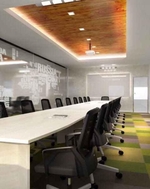 Meeting Room With Black Chairs And Sleek Table by Ashish Singh Contemporary | Interior Design Photos & Ideas