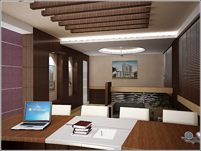 Artistic False Ceiling And Wooden Desk In Office by Ashish Singh Contemporary | Interior Design Photos & Ideas