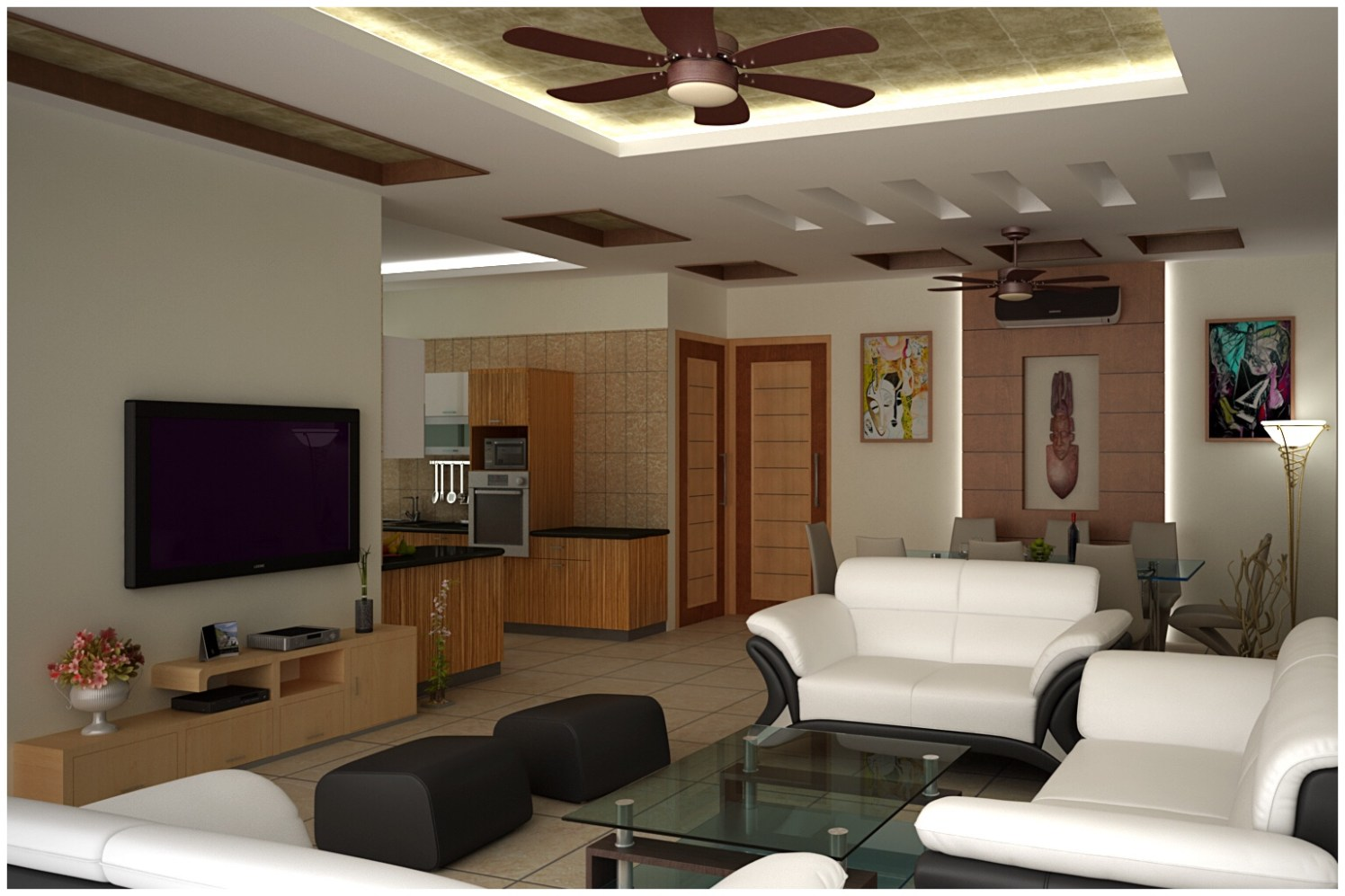 Lawson Sofa And Antique Fan In Living Room by Ashish Singh Living-room Contemporary | Interior Design Photos & Ideas