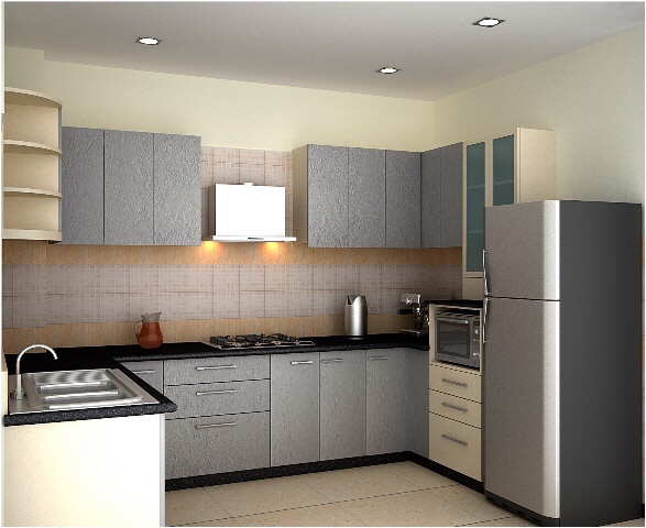 Grey Shade Cabinets In Modular Kitchen by Ashish Singh Modular-kitchen Contemporary | Interior Design Photos & Ideas