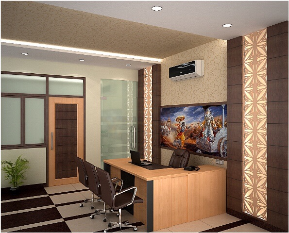Reception Area With Wooden Desk And Brown Chairs by Ashish Singh Contemporary | Interior Design Photos & Ideas