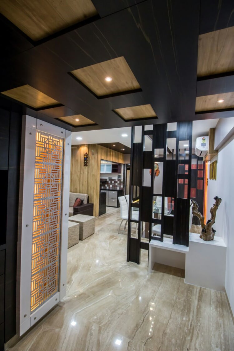 Hallway With Designer Wall And Marble Flooring by Monika Bodkhe Indoor-spaces Contemporary | Interior Design Photos & Ideas