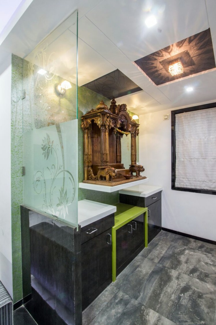 Grey Marble Flooring And Glass Enclosure In Prayer Room by Monika Bodkhe Indoor-spaces Contemporary | Interior Design Photos & Ideas