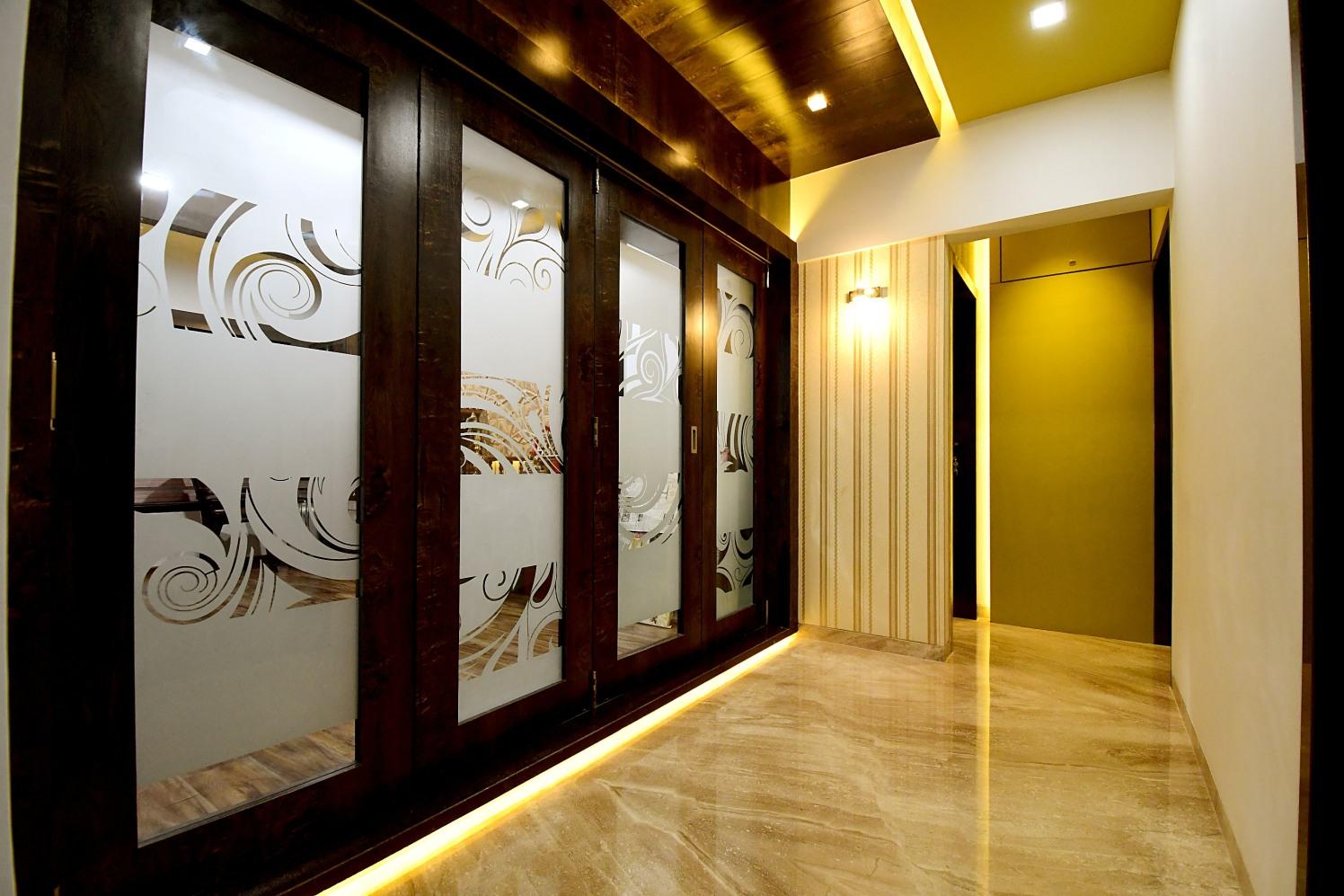 Marble Flooring With Glass Door In Hallway by Monika Bodkhe Indoor-spaces Modern | Interior Design Photos & Ideas