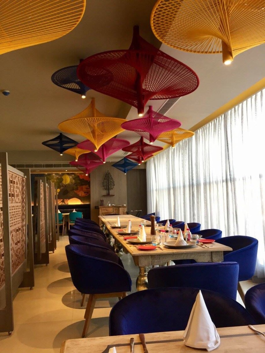 Blue Round Chairs And Artistic False Ceiling In Restaurant by Chetna Vijay Yadav Contemporary | Interior Design Photos & Ideas