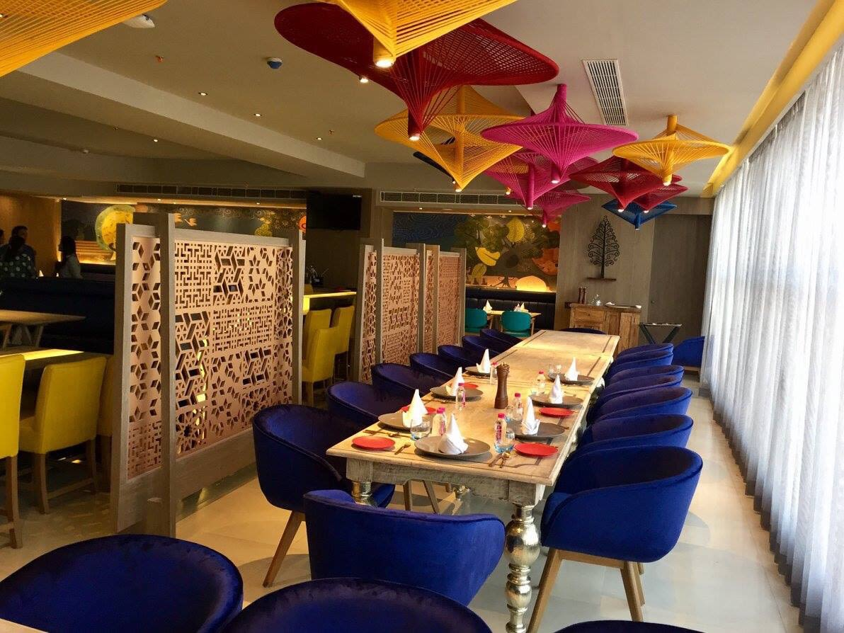 Perfect restaurant space with colorful vibes by Chetna Vijay Yadav Contemporary | Interior Design Photos & Ideas