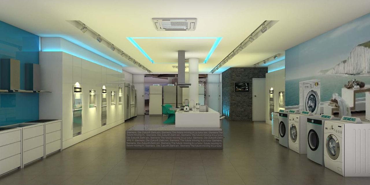 Showroom area with false ceiling by Sami Mohiuddin Ansari Modern | Interior Design Photos & Ideas