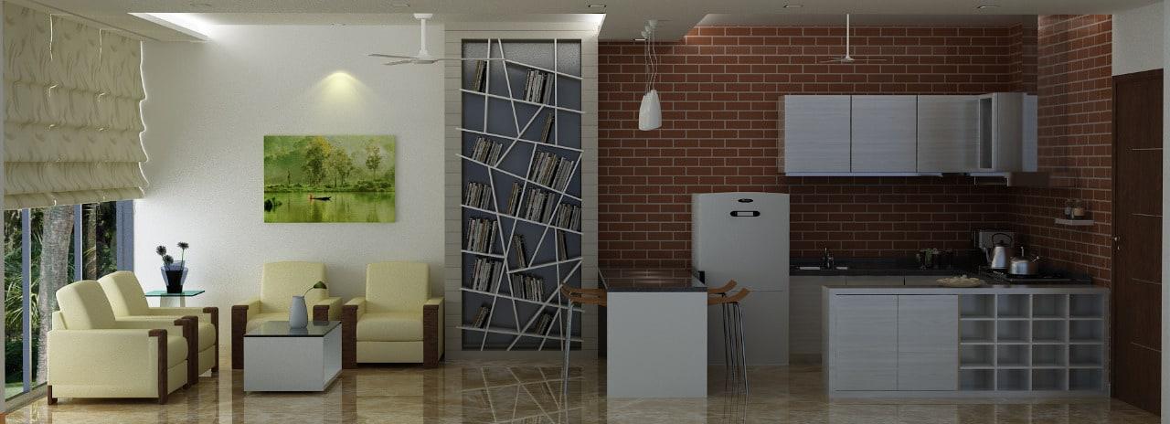 3D living room by Sami Mohiuddin Ansari Living-room Contemporary | Interior Design Photos & Ideas