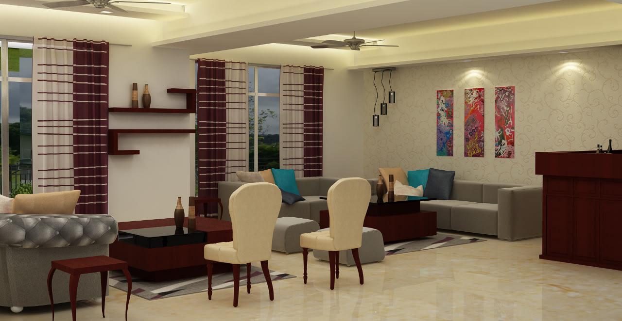 3D living area by Sami Mohiuddin Ansari Living-room Contemporary | Interior Design Photos & Ideas