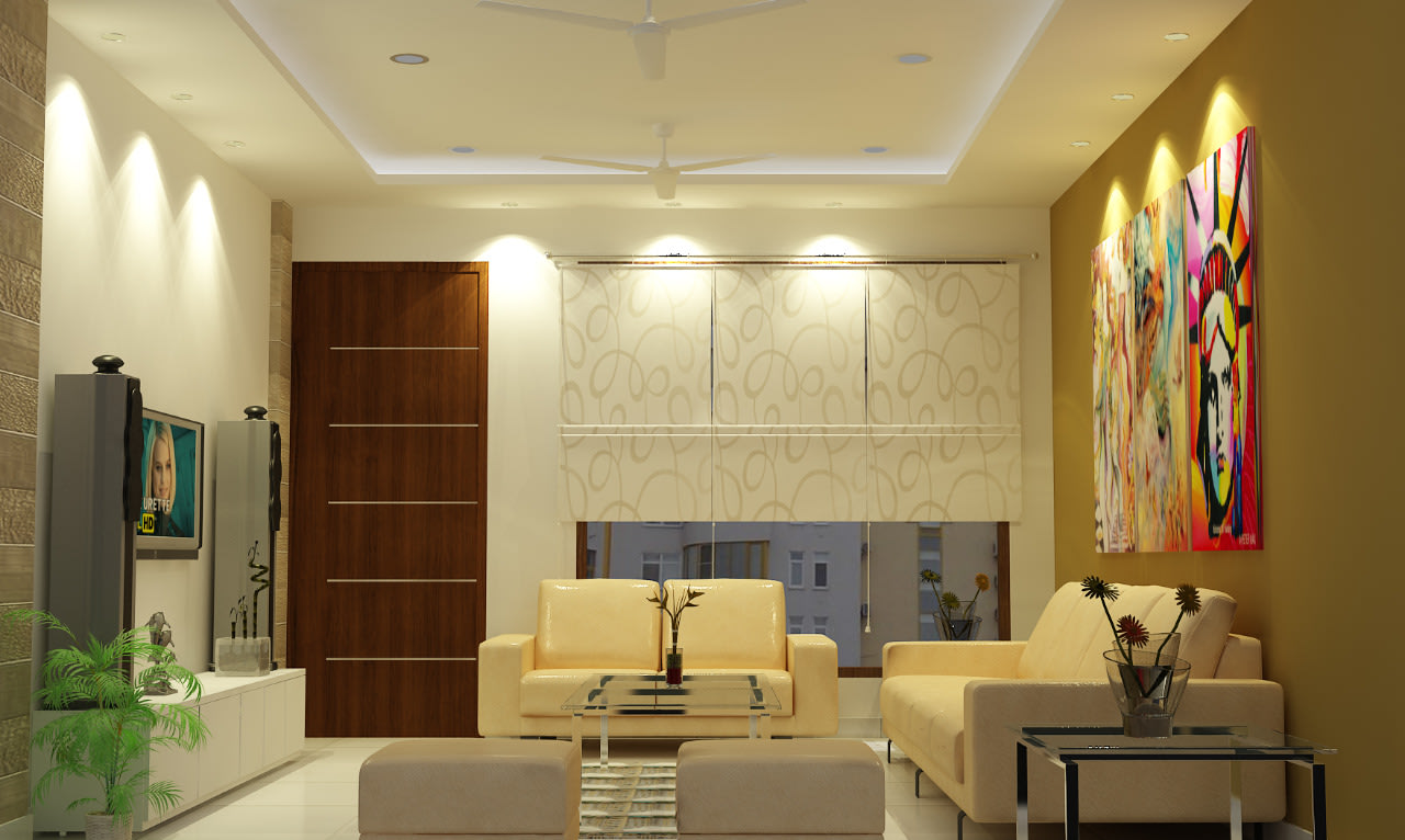 Beige theme living room with sectional sofa and ceiling lights by Sami Mohiuddin Ansari Living-room Contemporary | Interior Design Photos & Ideas