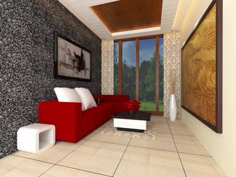 Red And White by Rashid Khan Living-room Modern | Interior Design Photos & Ideas