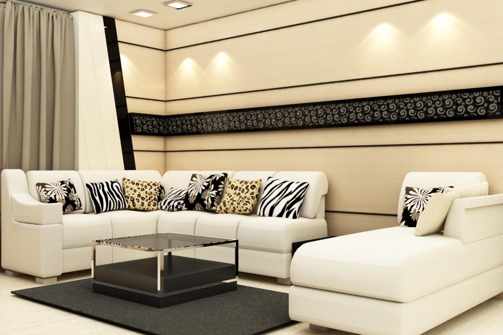 White And Stripes by Rashid Khan Living-room Modern   Interior Design Photos & Ideas