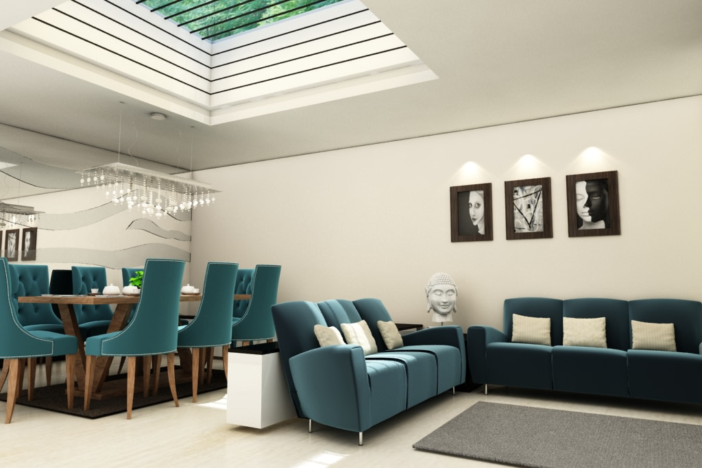 Blue Tint by Rashid Khan Living-room Modern | Interior Design Photos & Ideas