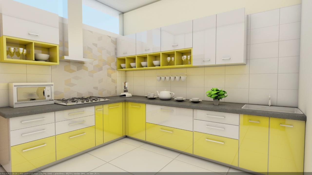 Glossy Yellow by Rashid Khan Modular-kitchen Modern | Interior Design Photos & Ideas