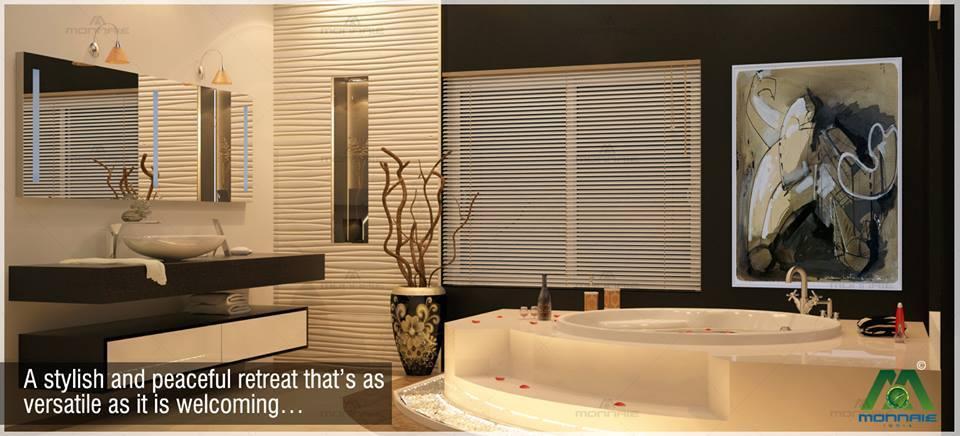 Buff Shaded Bathroom With round white Bathtub and window blinds by Monnaie Architects Bathroom Modern | Interior Design Photos & Ideas