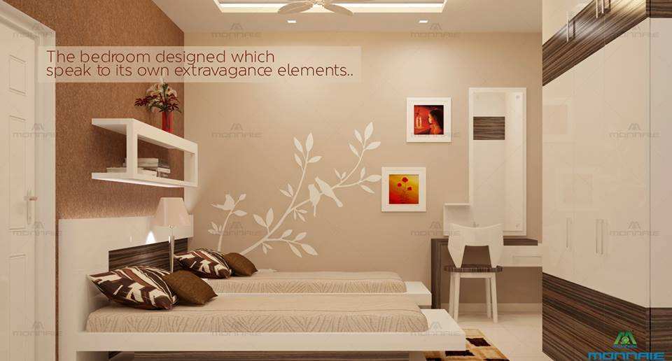Fawn Shaded Guest Bedroom With Wall Art by Monnaie Architects Bedroom Modern | Interior Design Photos & Ideas