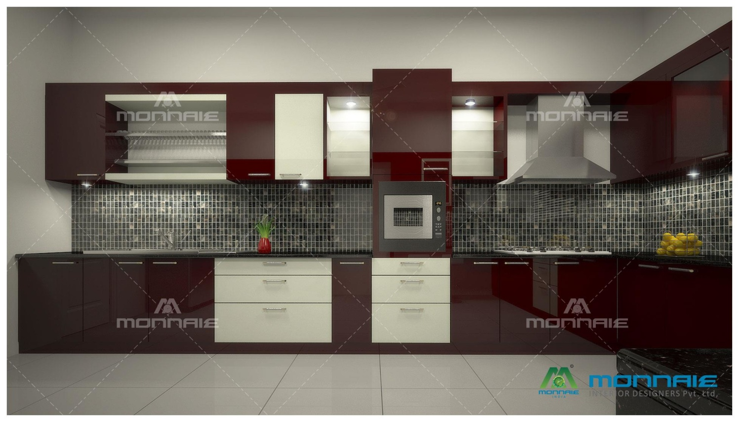 Cherry Shaded Modular L Shape Kitchen by Monnaie Architects Modular-kitchen Modern | Interior Design Photos & Ideas
