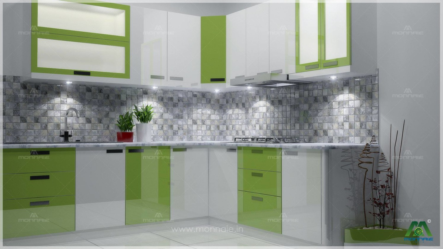 Green And White Shaded Modular L Shaped Kitchen by Monnaie Architects Modular-kitchen Contemporary | Interior Design Photos & Ideas