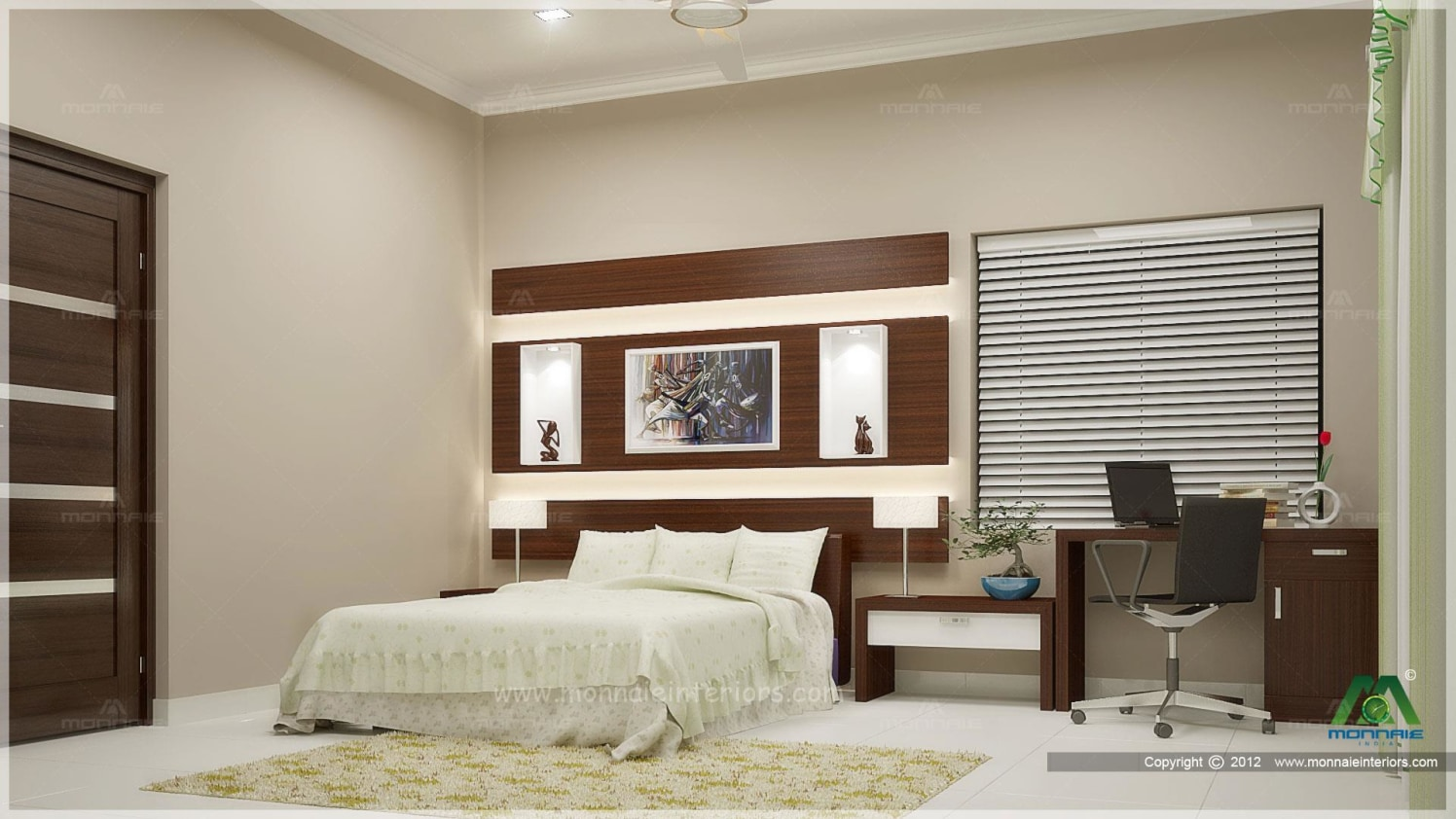 Off White And Antique Cherry Shaded Bedroom With brown Study Table by Monnaie Architects Bedroom Contemporary | Interior Design Photos & Ideas