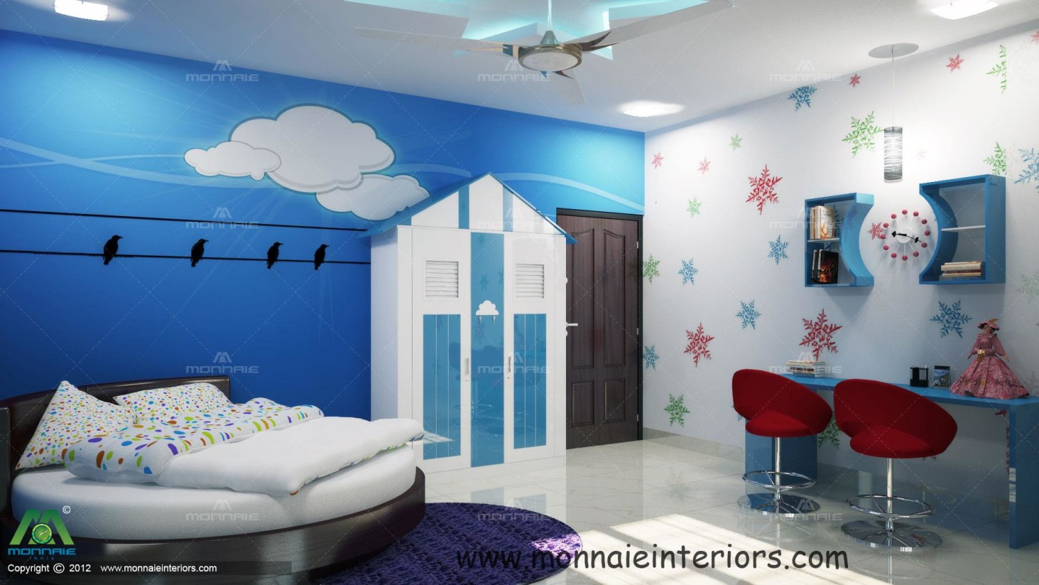 Blue Shaded Kids Bedroom Home shaped wardrobe and circular queen sized bed by Monnaie Architects Bedroom Contemporary | Interior Design Photos & Ideas