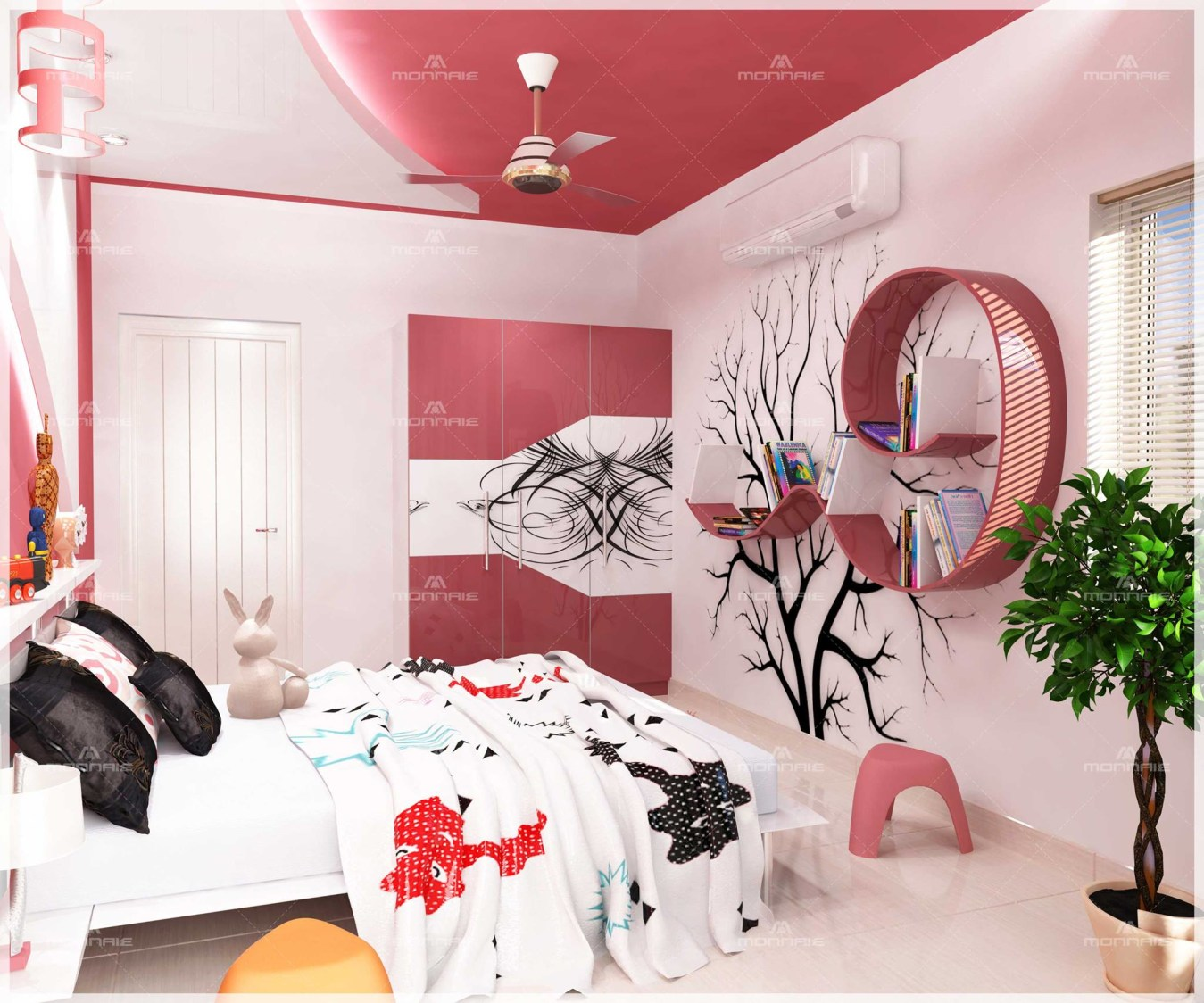 Cerise Shaded Kids Bedroom With Wall Art by Monnaie Architects Bedroom Contemporary | Interior Design Photos & Ideas