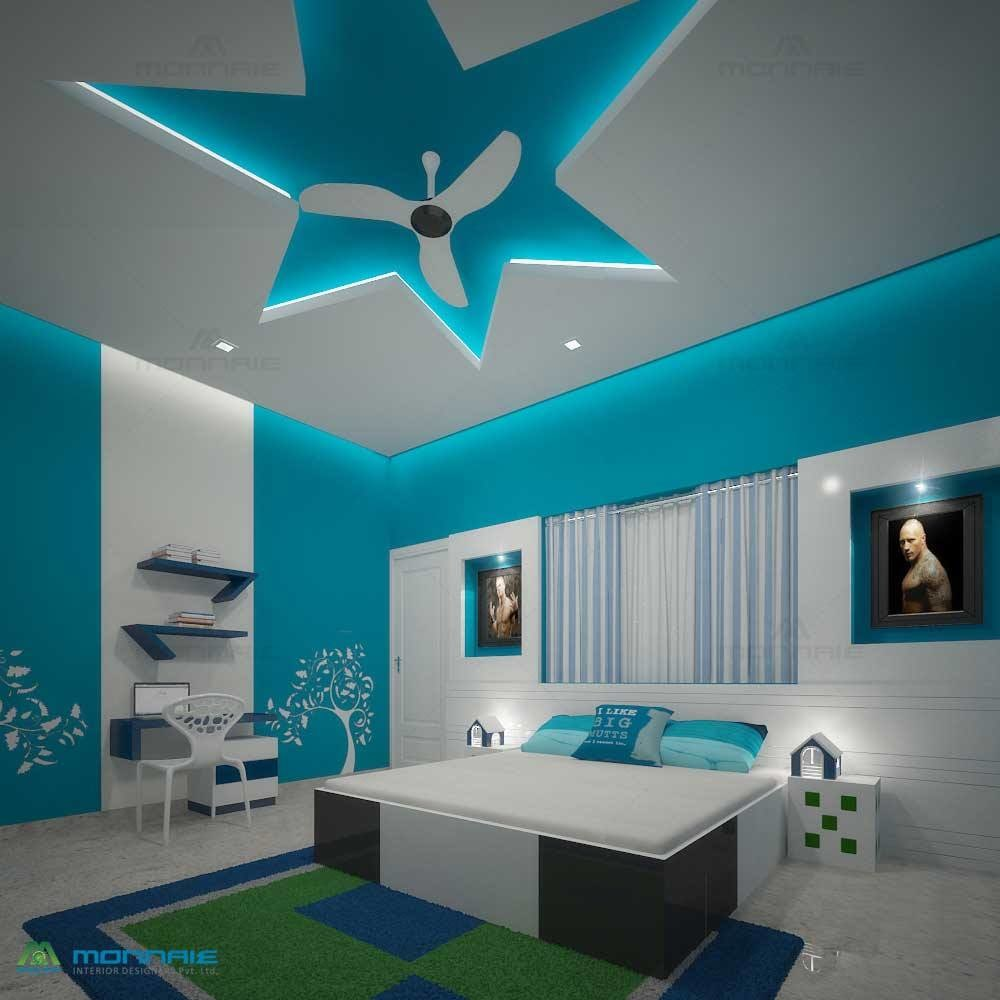 Blue shade bedroom with wall design and marble flooring by Monnaie Architects Bedroom Contemporary | Interior Design Photos & Ideas
